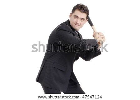 Person with a baseball bat preparing to strike isolated on white background - stock photo