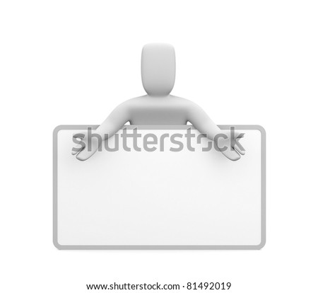 Person with billboard. Place you text or graphics - stock photo