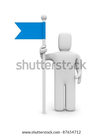 Person with flag - stock photo