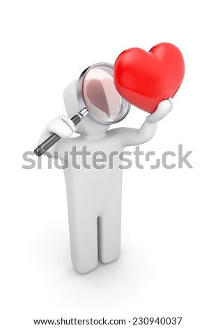 Person with magnifying glass exploration heart - stock photo