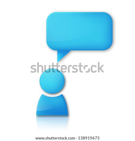 Person with speech bubble - stock photo