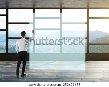 Person write on office background - stock photo