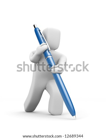 Person writes pen. Business concept isolated on white - stock photo