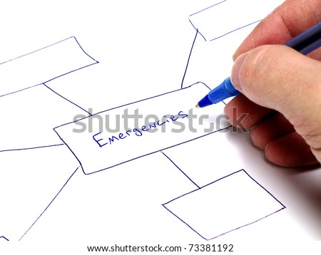 Person writing notes on paper about plans for emergencies - stock photo