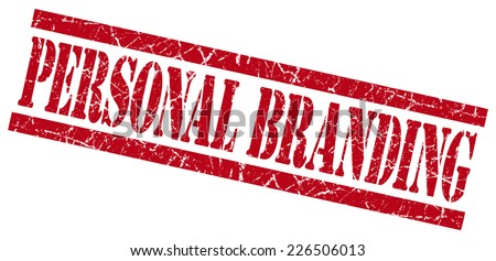 personal branding red grunge stamp isolated on white - stock photo
