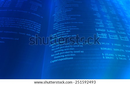 Personal Cash Flow Sheet in Blue - stock photo
