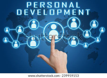Personal Development concept with hand pressing social icons on blue world map background. - stock photo