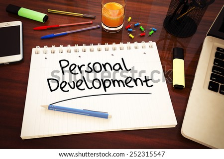 Personal Development - handwritten text in a notebook on a desk - 3d render illustration. - stock photo