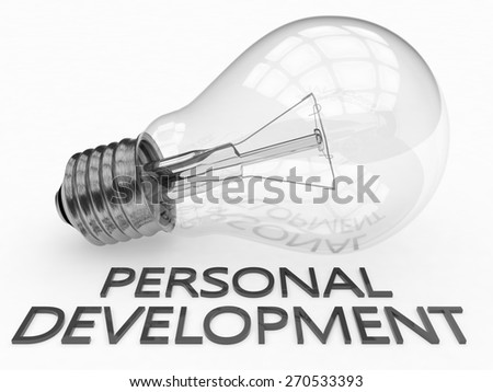 Personal Development - lightbulb on white background with text under it. 3d render illustration. - stock photo