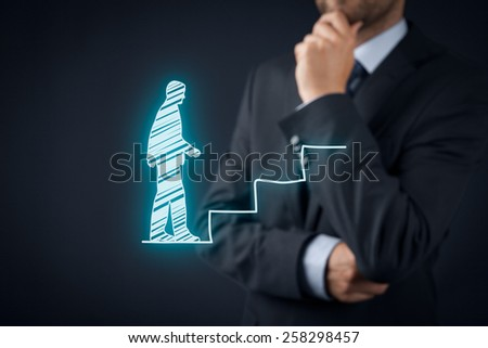 Personal development, personal and career growth, success, progress, and potential concepts. Coach (human resources officer, supervisor) think about employee career growth.  - stock photo
