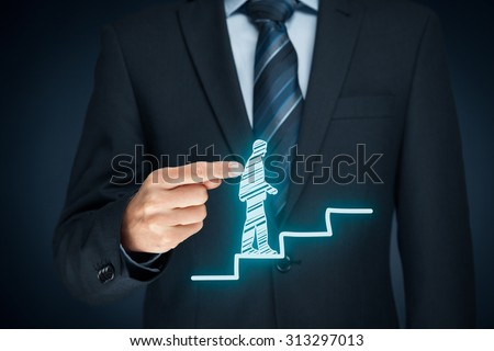 Personal development, personal and career growth, success, progress, motivation and potential concepts. Coach (human resources officer, supervisor) helps employee with his growth.  - stock photo