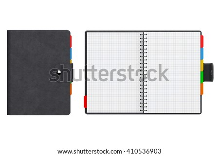 Personal Diary or Organiser Book with Blank Pages on a white background. 3d Rendering - stock photo