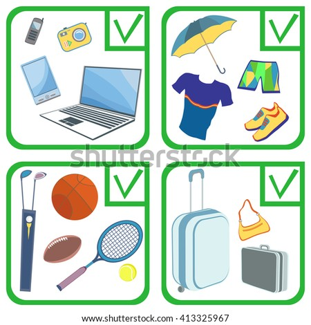 Personal effects bringing into(out) and sent by international mail without restrictions by individuals. Personal belongings (things, items, goods). Illustration isolated on white background. - stock photo