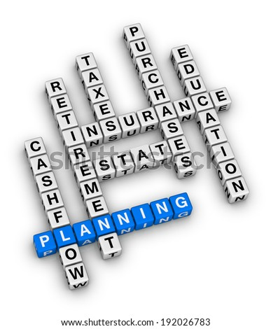 personal financial planning crossword puzzle - stock photo