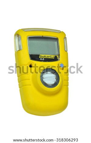 Personal H2S Gas Detector isolated on white background - stock photo
