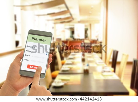 Personal phone calls planner in restaurants, appointments, notes, Remind concept. - stock photo