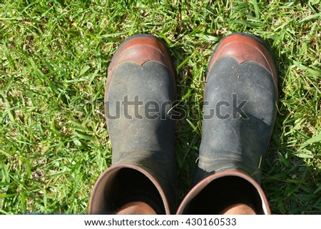 Personal point of view of mans gardening gumboots on green grass. copy space - stock photo