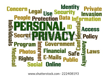 Personal Privacy word cloud on white cloud - stock photo