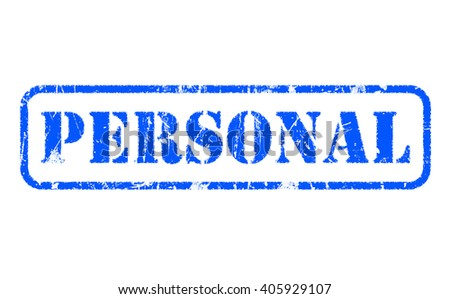 PERSONAL rubber blue stamp text on white background - stock photo