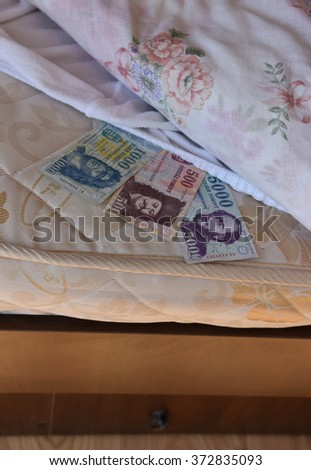 Personal savings, hungarian money, under the bed sheet - stock photo