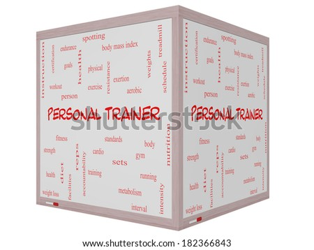 Personal Trainer Word Cloud Concept on a 3D cube Whiteboard with great terms such as fitness, exercise, aerobic and more. - stock photo