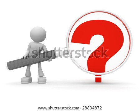 persons keeps lens to enlarge question - stock photo