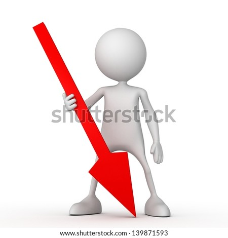 Persons with red arrow. Small unrecognizable people on 3D high quality render. Image isolated on white background. - stock photo