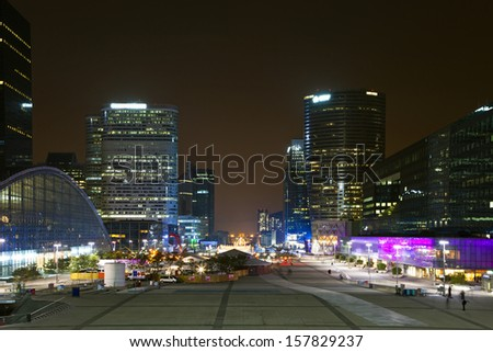 Perspective a night view of financial and business district of Paris - La Defense. - stock photo