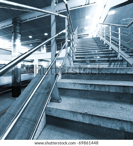 perspective abstract staircase in metro station - stock photo