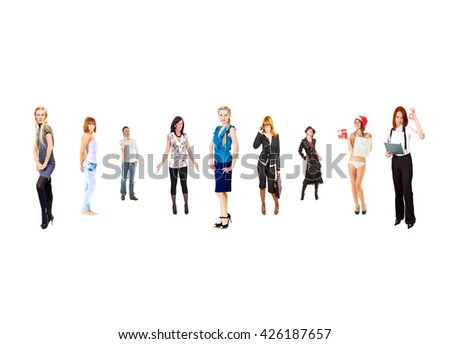 Perspective Concept Line of Colleagues  - stock photo