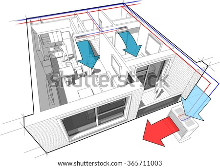 Perspective cut away diagram of a one bedroom apartment completely furnished with two indoor wall air conditioner and central external unit situated outside - stock photo
