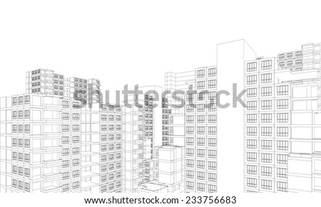 Perspective 3D render of Aerial view of city buildings  - stock photo