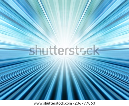 Perspective illustration of wide angle view to modern metal and light blue illuminated airport, spacious high-speed technology moving escalator, fast blurred steel trail in vanishing traffic motion. - stock photo