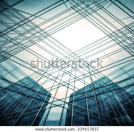Perspective illustration wide angle view to steel light blue background of glass high rise building skyscraper commercial modern city of future. Business concept of success industry tech architecture - stock photo
