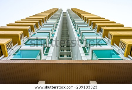 Perspective image of high rise building - stock photo