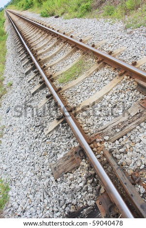 perspective of classic track train - stock photo