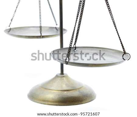 perspective of golden brass scales of justice on white background - stock photo