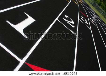 Perspective of lanes on a track. - stock photo