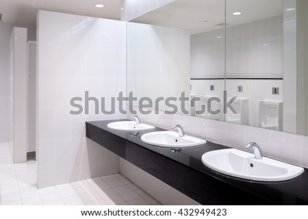 Perspective of men restroom - stock photo