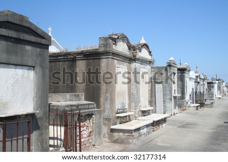 Perspective of the Dead, A New Orleans  Historical cemetery - stock photo