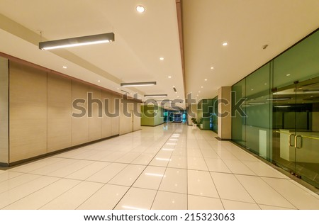 Perspective of the modern lobby, hallway, plaza of the five stars luxury hotel, shopping mall, business center in Vancouver, Canada. Interior design. - stock photo