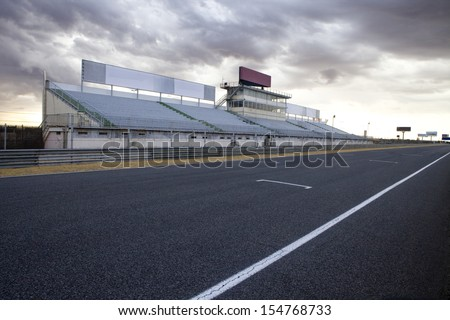 Perspective of tribune and straight in Jarama Racetrack, Madrid, Spain. Jarama racetrack. - stock photo