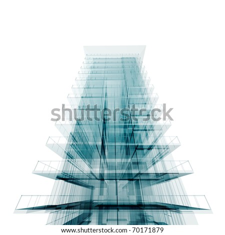 Perspective office. Isolated on white - stock photo