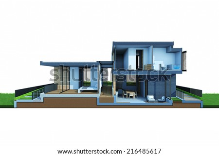 Perspective section views of house and construction space isolated on white background. - stock photo