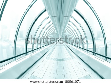 perspective spacious contemporary airport interior - stock photo