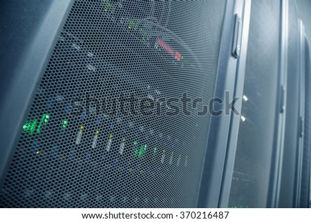 Perspective View And Distortion Effect Wide-Len Of Close up Server Rack With LED Indicator Inside - stock photo