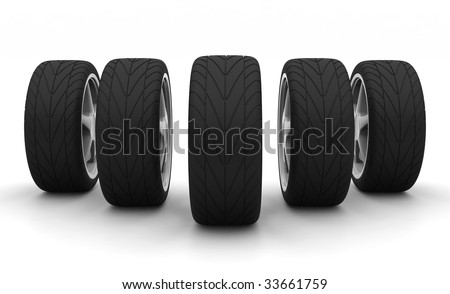 Perspective view of five new car wheels isolated on the white background. Front view - stock photo