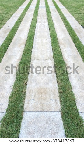 Perspective View of Marble Stone Pattern Sidewalk, Pavement with Line of Grass Texture Background in The Garden - stock photo