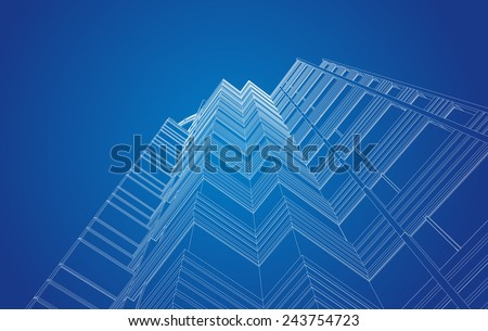 perspective view of modern building in vector - stock photo
