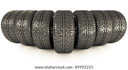 Perspective view of seven new car wheels isolated on the white background. Front view - stock photo